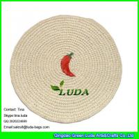 Wholesale LUDA embroidery placemat hand crocheted paper straw round table mat from china suppliers