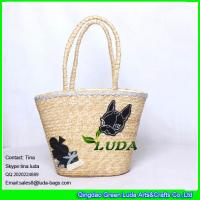 Wholesale LUDA handmade cheap summer wheat straw beach bag with customized fox from china suppliers