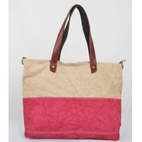 Wholesale hot sale women's handbags in canvas with leather handle from china suppliers