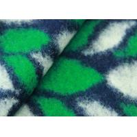 Wholesale Green Leaves Pattern Hand Woven Wool Fabric , Patterned Knit Wool Mix Fabric from china suppliers