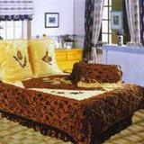 Golden velour bedspread