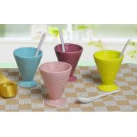 M61470156 ice cream cup with spoon, stoneware with solid color