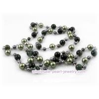 Wholesale 48inch 10mm green shell pearls and agate beads rope necklace from china suppliers