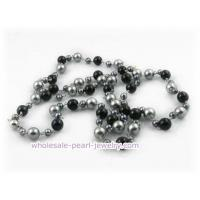 Wholesale 48inch 10mm gray shell pearls and agate beads rope necklace from china suppliers