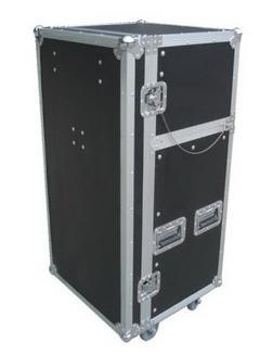 "Quality Flight Case 19"" Standard compact mobile DJ rack4U vertical rack space on top front part for the DJ unit,another 10U slant rack space in the middle for mixer,Front cover can be used as desk,9mm plywood construction with laminated plastic covering,35 x 35m for sale"