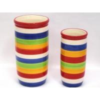 Wholesale Ceramic Utensil Holder Big Ceramic Round Stripe Color Utensil Holder from china suppliers