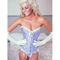 Overbust corset with lustrous cream ripple ribbon