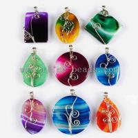 Wholesale Wire Wrap Colorful Onyx Agate Pendant from china suppliers