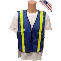 Wholesale Soft Mesh Royal Blue Vests with Lime Stripes from china suppliers