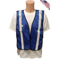 Wholesale Soft Mesh Royal Blue Vests with Silver Stripes from china suppliers