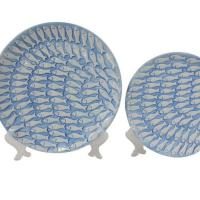 Wholesale Leisure Bags Global views blue ceramic fish plate from china suppliers