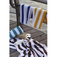 Wholesale Hotel All Cotton Green And White Stripe Swimming Towel Beach Yarn Dyed Towels