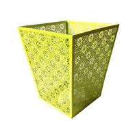 Wholesale Carved Hollow Flower Pattern Metal Office Square Trash Can Waste Paper Bin from china suppliers