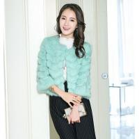 Half Sleeve O-neck Wave Layered Faux Fur Top Jacket Outwear For Lady