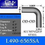 """Wholesale 4'' ALZ Elbows OD-OD L490-6565SA 4"""" Elbow 90 Degree 6.5"""" x 6.5"""" OD-OD Aluminized from china suppliers"""