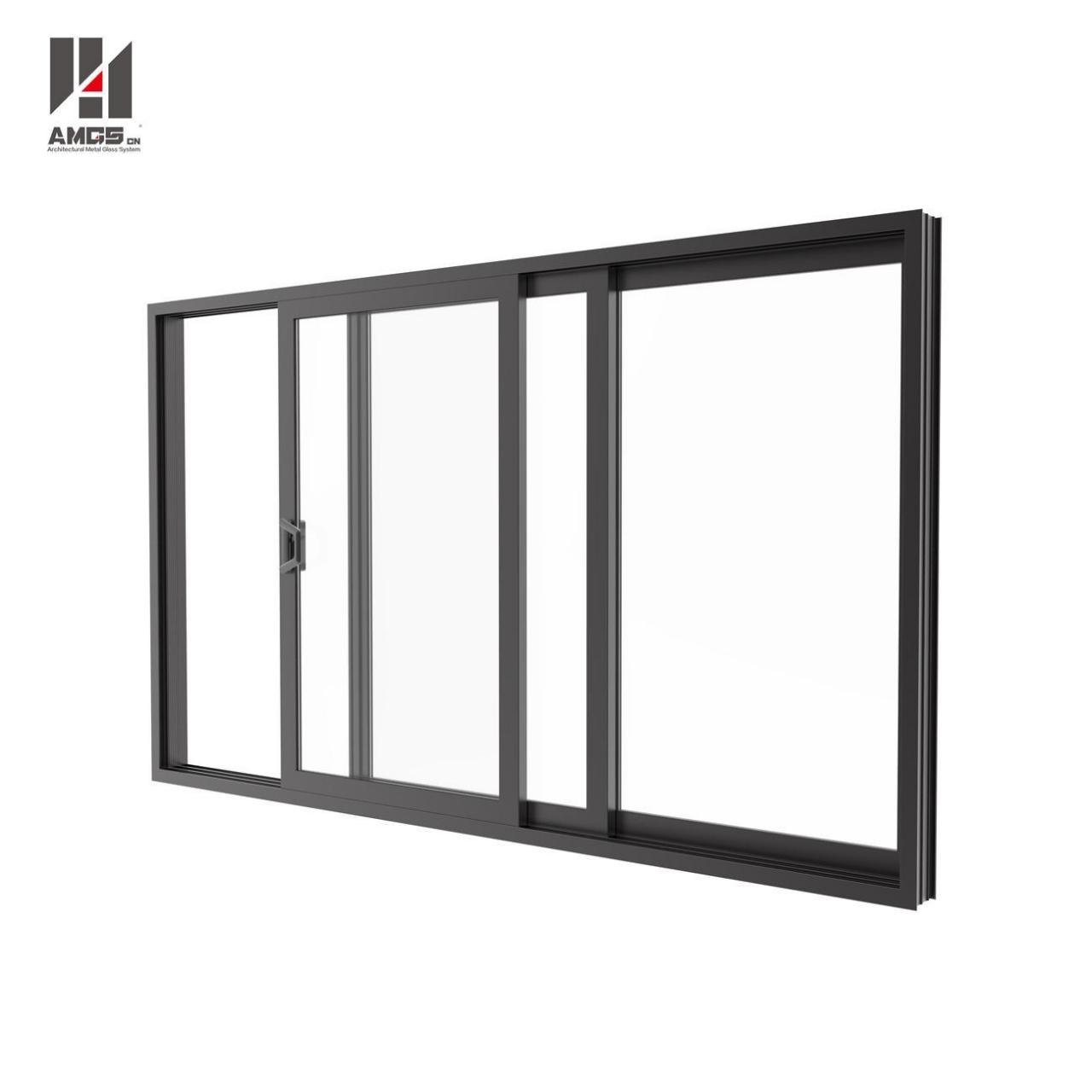 Aluminium Profile Sliding Glass Doors For Double Glass