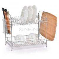 2 tiers kitchen dish drainer rack stainless steel dish rack