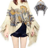 China Stylish design loose plus szie cloak women knitted pullover sweater poncho on sale