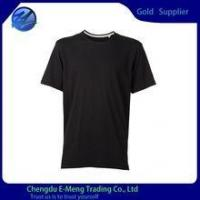 Buy cheap Mens' O-neck Blank T-shirt in Black With White Tape from wholesalers