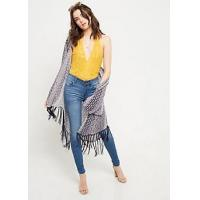 Wholesale Beach scarf Blue Border Print Fringed Kimono from china suppliers