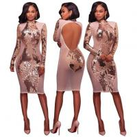 China Open Back Long Sleeve Nude Sequin Party Dress on sale
