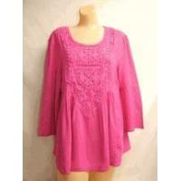 Simply Noelle shirt Orchid pink top 3/4 Bell Sleeve Top w/Crochet size small medium