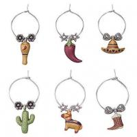 Wholesale Viva Mexico! Themed Wine Charms (6) from china suppliers