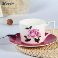 Wholesale Cup and Saucer Unique design rose decal fine bone china cups with saucer from china suppliers