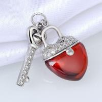 China Fashion 925 Sterling Silver Clear CZ And Red Agate Heart Shaped Lock And Key Jewelry on sale
