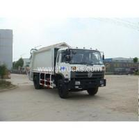 China Dongfeng front loader garbage truck dumping videos on sale
