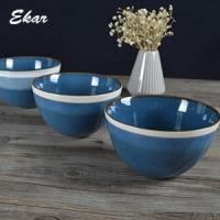 Wholesale Blue reactive glaze ceramic bowl with brown rim from china suppliers