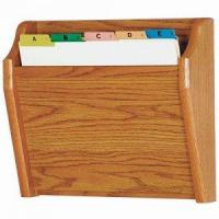 Wholesale Chart and File Holder, Tapered Bottom Wall Mounted, 1 Pocket, Letter Size, Oak Wood Finish from china suppliers