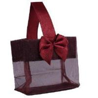 """Wholesale Burgundy Sheer Tote with Satin Handle & Bow (3.25"""" x 3.25"""" x 2""""), 12 bags SHTOTE-BU-D from china suppliers"""