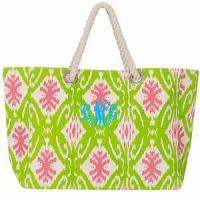 Monogrammed Aztec Print Tote Bag with Rope Handles - HUGE Bag!