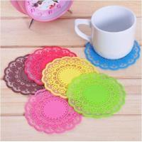plastic home decoration products 2013345381plastic silicone cup coaster , lace shape