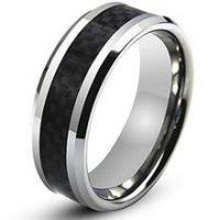 Wholesale Black Carbon Fiber Inlay Men