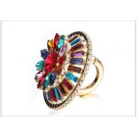 Wholesale Customized Sparkling Gem Acrylic Geometric Alloy Flowers Shape Ring RG-04277 from china suppliers