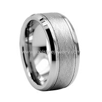 China 8mm Tungsten Carbide Ring Special Brushed Two Grooved Center Mens Wedding Band on sale