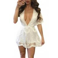 Wholesale New Arrivals White Delicate Tulle Embroidered Lace Romper from china suppliers
