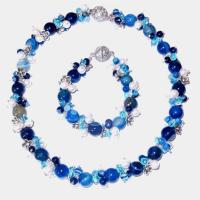 Wholesale Jewelry Series blue striped agate necklace from china suppliers