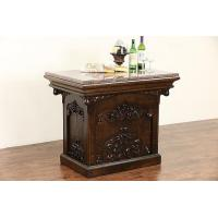 Wholesale Carved Oak 1890 Antique Kitchen Island, Wine Tasting Table, Granite Top from china suppliers