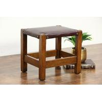 Wholesale Arts & Crafts Mission Oak 1900 Antique Craftsman Bench Footstool, Leather Seat from china suppliers