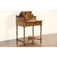 Wholesale Spanish Walnut Vintage Secretary Desk, Leather Top, Brass Mounts & Galleries from china suppliers