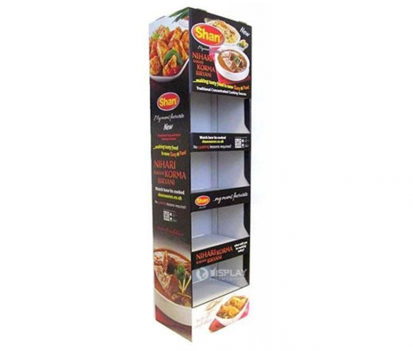 China Food POP Cardboard Product Displays with Shelves