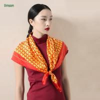 China Spring high-end customed digital printing orange square satin women silk scarf on sale