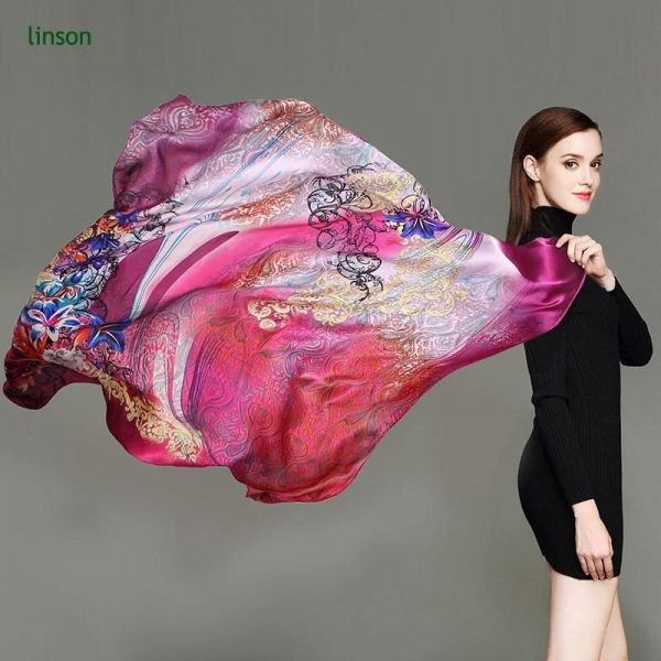 Quality Large Square Satin Scarf/100% Silk Square Scarf For Woman Fancy Printed Satin Silk Wholesale for sale