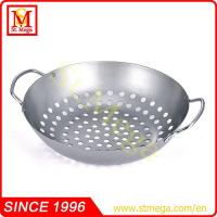 Wholesale Silver BBQ Wok with Wire Handles from china suppliers