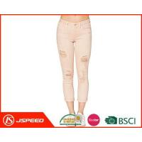 Wholesale WomenWashedDenim PencilPantsBroken Hollow Jeans with Custom Designs from china suppliers