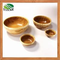 Wholesale Natural Round Shaped Bamboo Salad Serving Snack Bowl Set from china suppliers