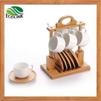 Wholesale Set of 6 Ceramic Coffee Cups with Bamboo Coasters and Bamboo Stand from china suppliers